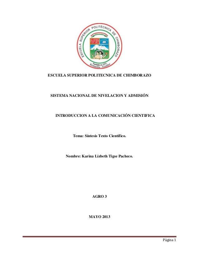 ESCUELA SUPERIOR POLITECNICA DE CHIMBORAZO  SISTEMA NACIONAL DE NIVELACION Y ADMISIÓN  INTRODUCCION A LA COMUNICACIÓN CIEN...