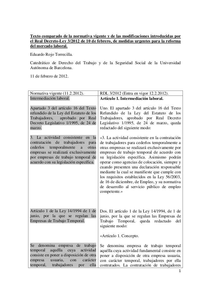Texto comparado de la normativa vigente y de las modificaciones introducidas porel Real Decreto-Ley 3/2012 de 10 de febrer...