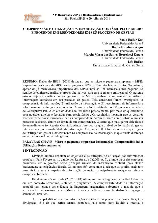 1                        11º Congresso USP de Controladoria e Contabilidade                                 São Paulo/SP 2...