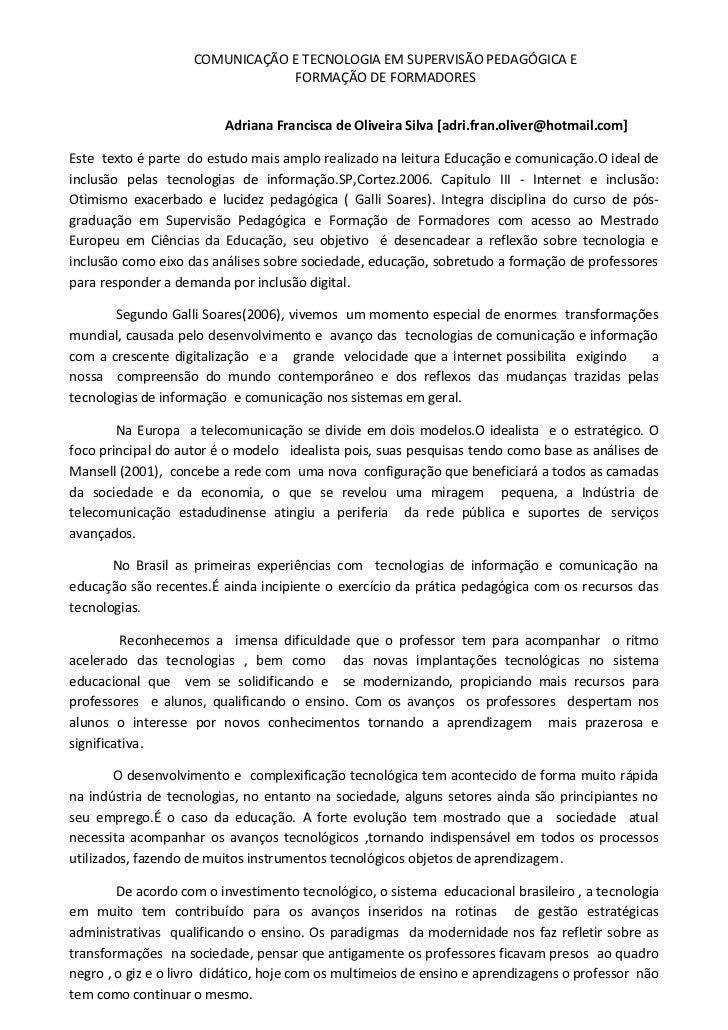 COMUNICAÇÃO E TECNOLOGIA EM SUPERVISÃO PEDAGÓGICA E                                 FORMAÇÃO DE FORMADORES                ...