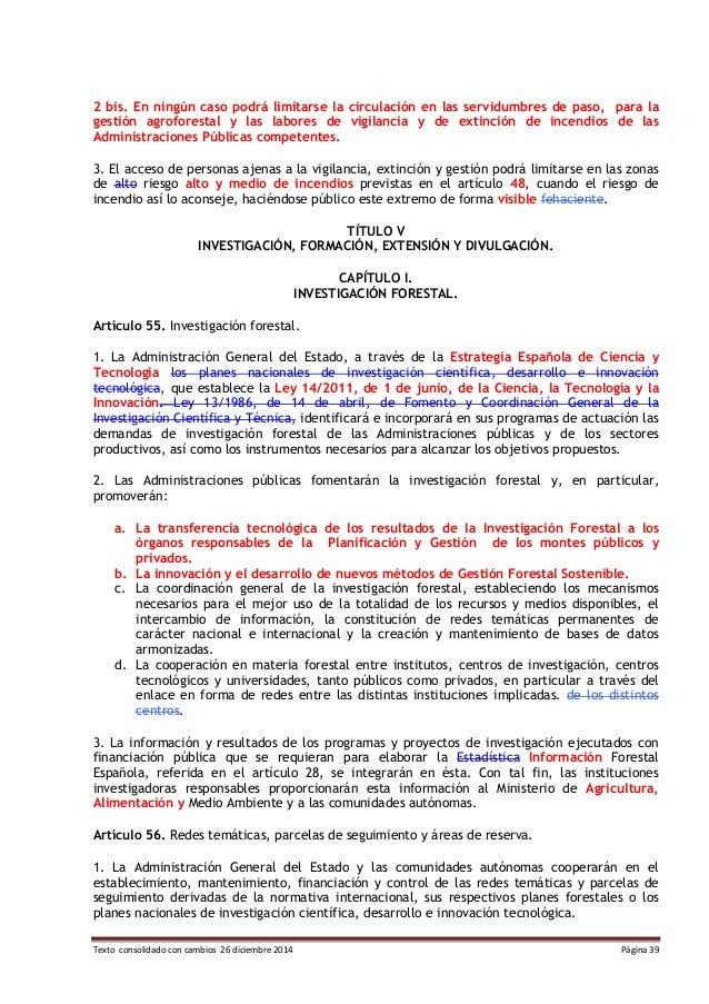 Texto consolidado ley de montes con proyecto de modificación