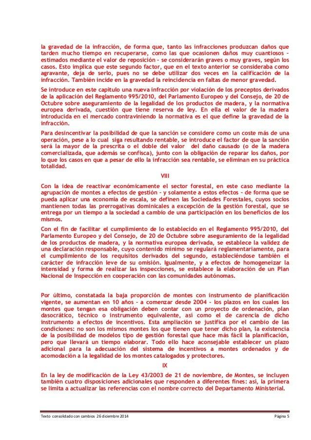 Texto consolidado con cambios 26 diciembre 2014 Página 5 la gravedad de la infracción, de forma que, tanto las infraccione...