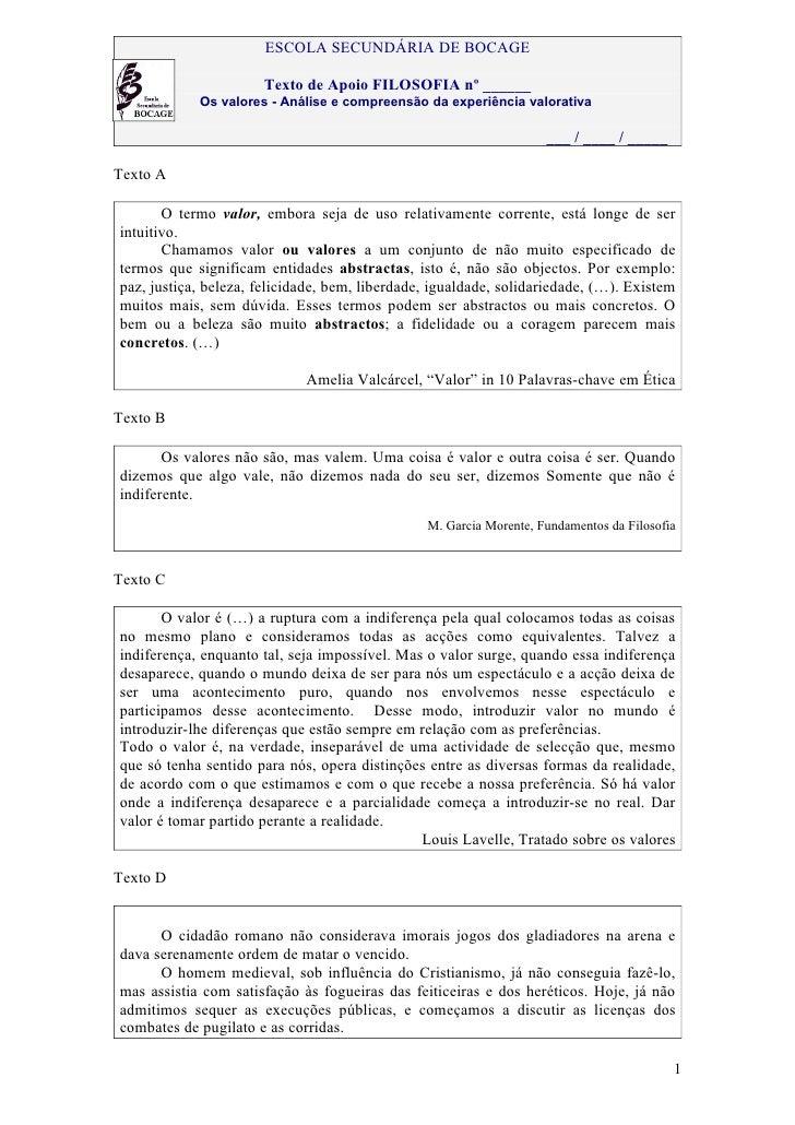 ESCOLA SECUNDÁRIA DE BOCAGE                      Texto de Apoio FILOSOFIA nº ______            Os valores - Análise e comp...
