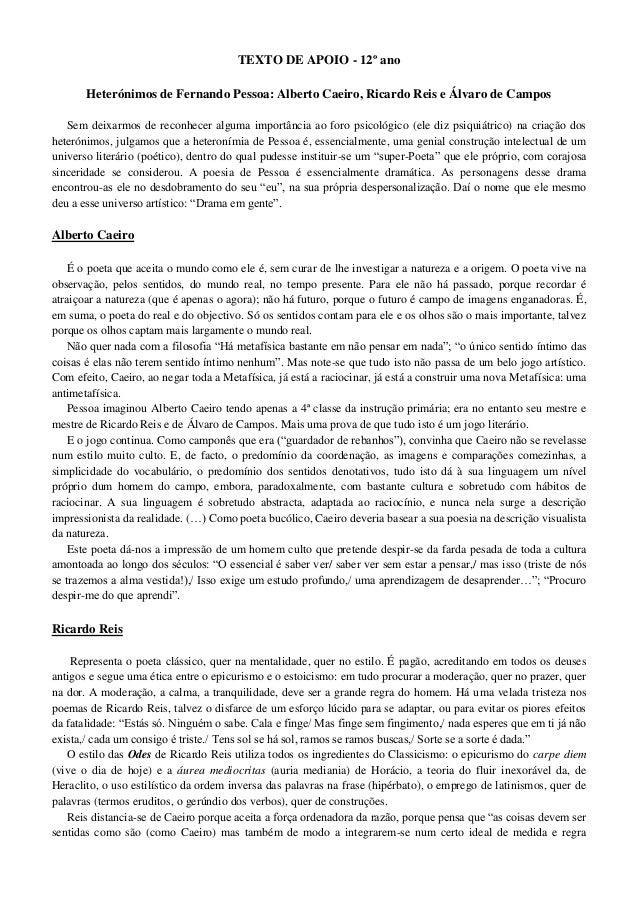 Suficiente Texto de apoio sobre os heterónimos Fernando Pessoa LL34