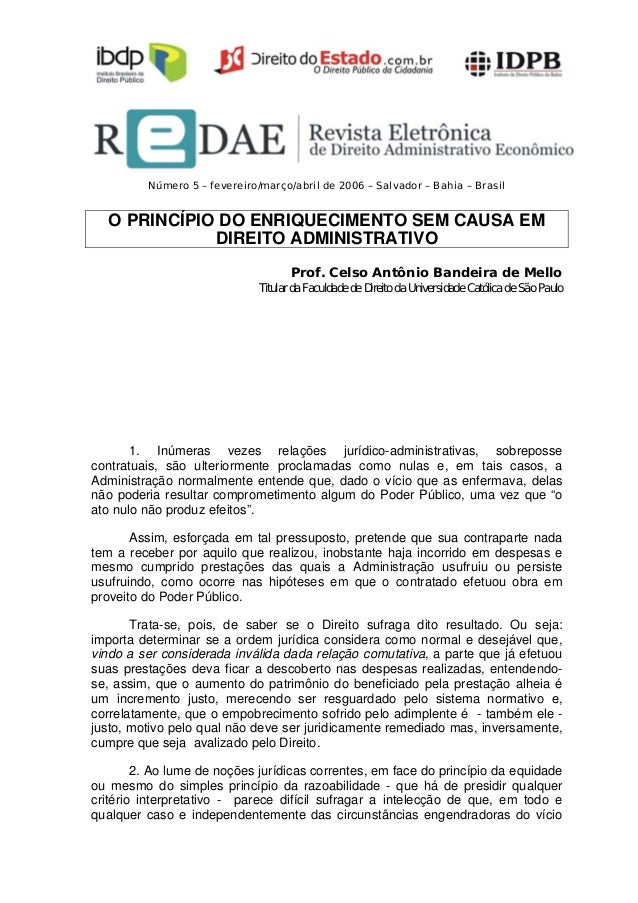 Número 5 – fevereiro/março/abril de 2006 – Salvador – Bahia – Brasil   O PRINCÍPIO DO ENRIQUECIMENTO SEM CAUSA EM         ...