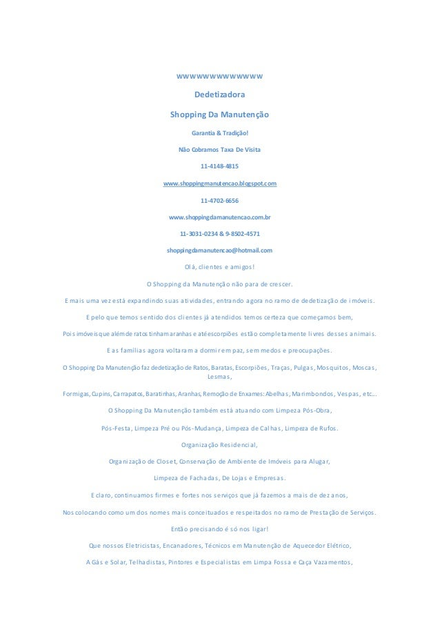 WWWWWWWWWWWWW  Dedetizadora  Shopping Da Manutenção  Garantia & Tradição!  Não Cobramos Taxa De Visita  11-4148-4815  www....