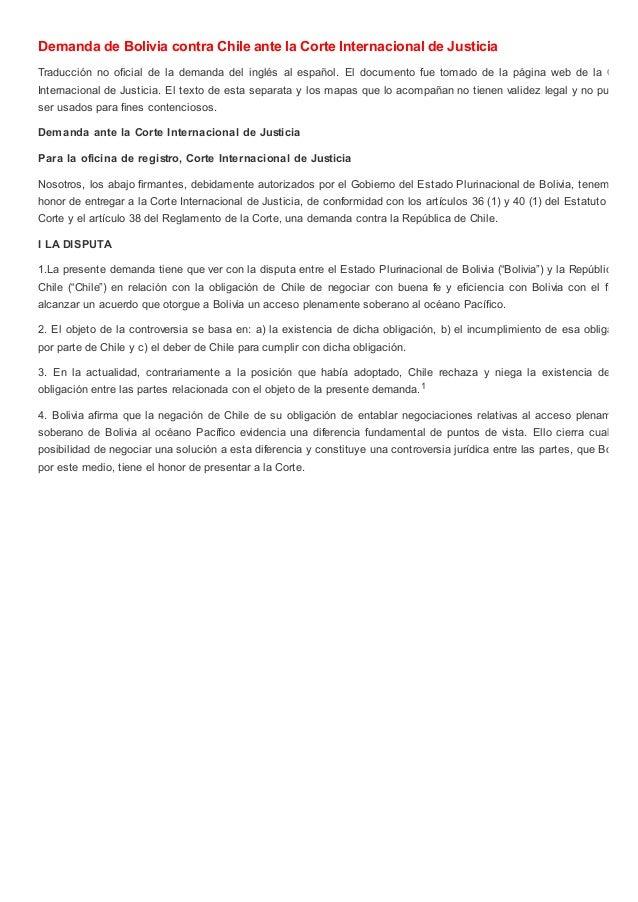 Demanda de Bolivia contra Chile ante la Corte Internacional de Justicia Traducción no oficial de la demanda del inglés al ...