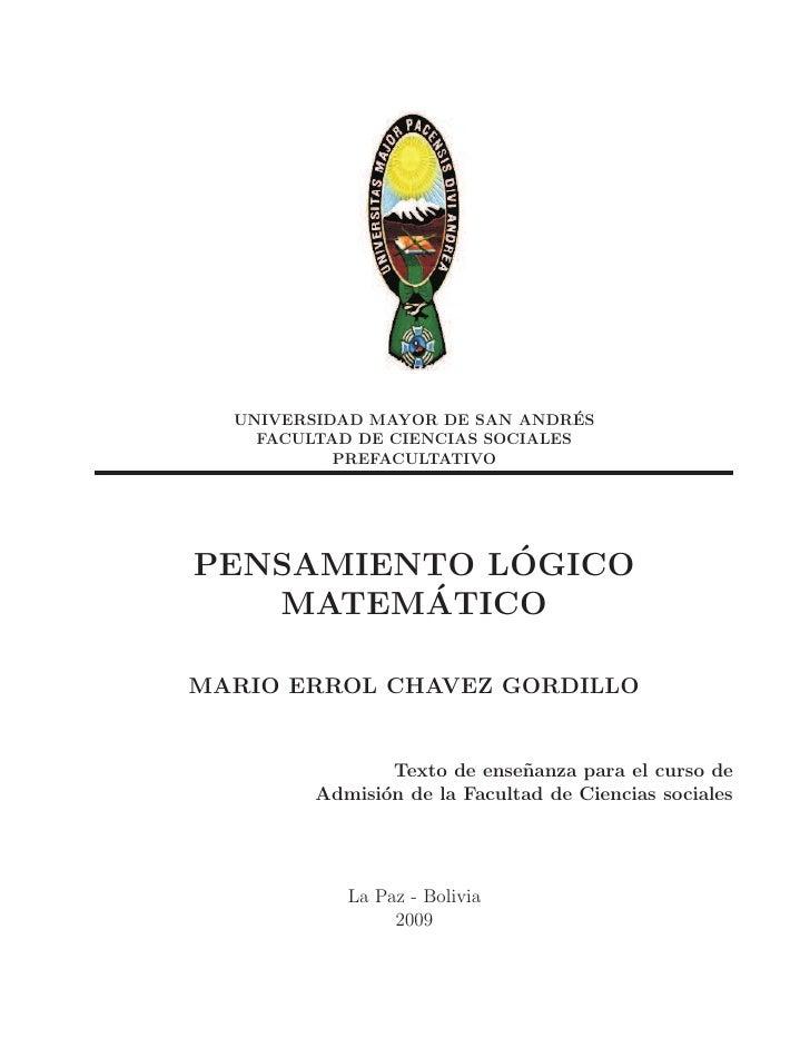 UNIVERSIDAD MAYOR DE SAN ANDRES ´    FACULTAD DE CIENCIAS SOCIALES           PREFACULTATIVO             ´PENSAMIENTO LOGIC...