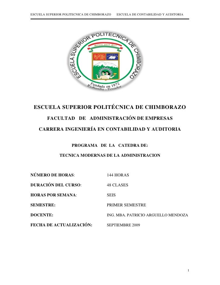 ESCUELA SUPERIOR POLITECNICA DE CHIMBORAZO    ESCUELA DE CONTABILIDAD Y AUDITORIA ESCUELA SUPERIOR POLITÉCNICA DE CHIMBORA...