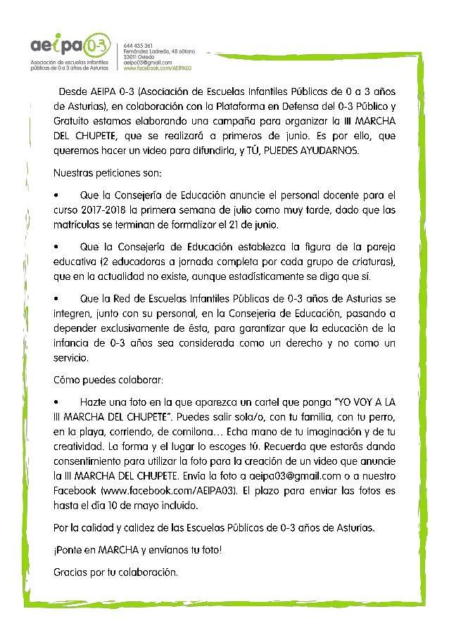 Texto difusión campaña III MARCHA DEL CHUPETE