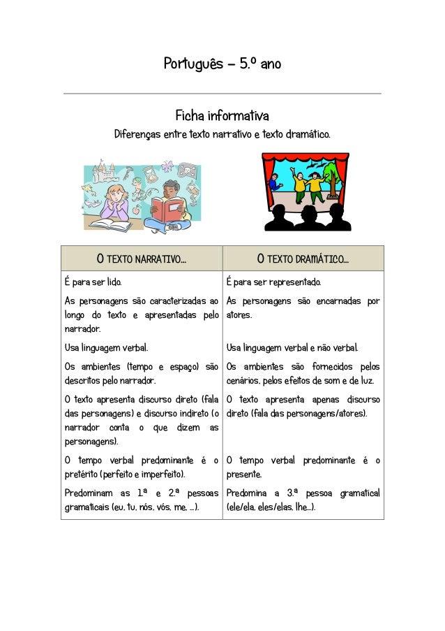 Português – 5.º ano Ficha informativa Diferenças entre texto narrativo e texto dramático.  O TEXTO NARRATIVO… É para ser l...