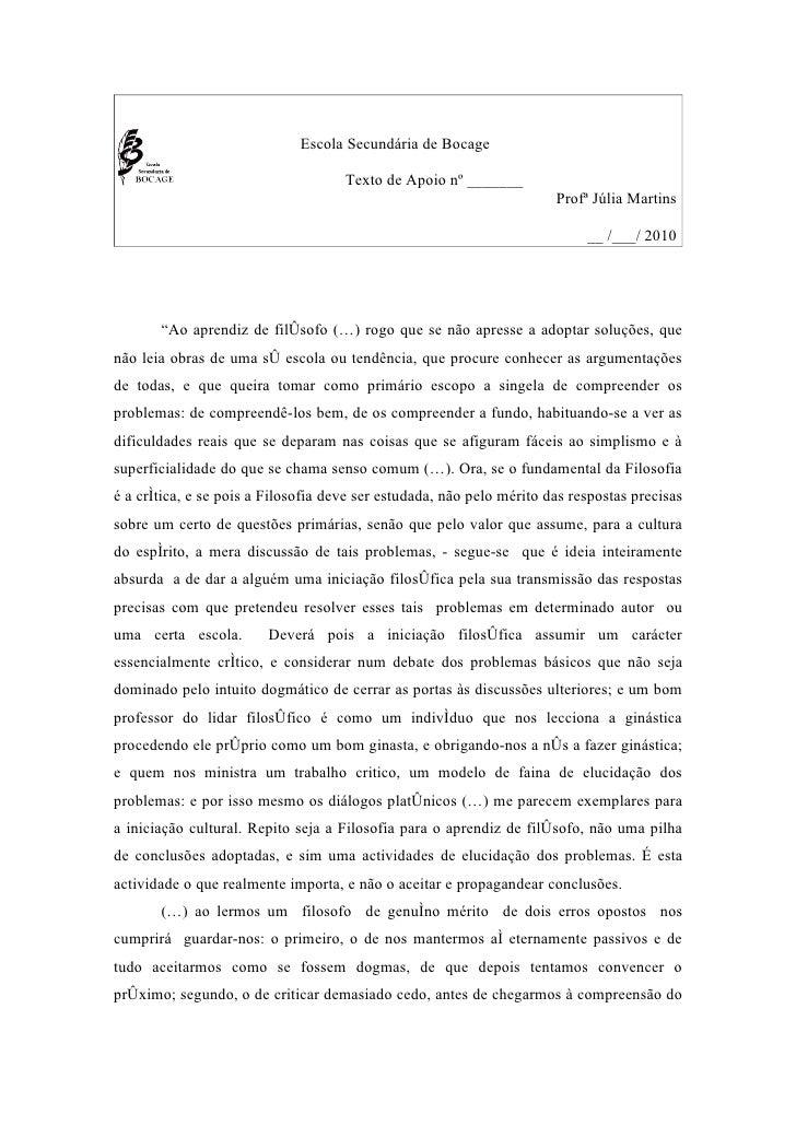 Escola Secundária de Bocage                                       Texto de Apoio nº _______                               ...