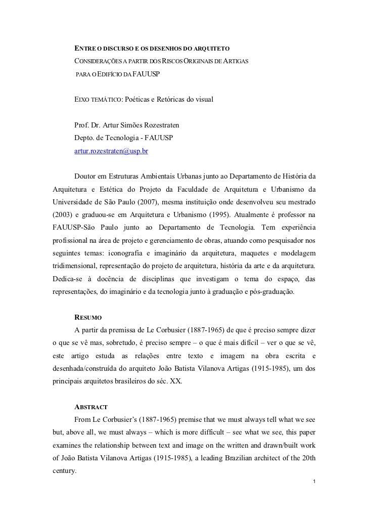 E   TRE O DISCURSO E OS DESE HOS DO ARQUITETO       CONSIDERAÇÕES A PARTIR DOS RISCOS ORIGINAIS DE ARTIGAS        PARA O E...