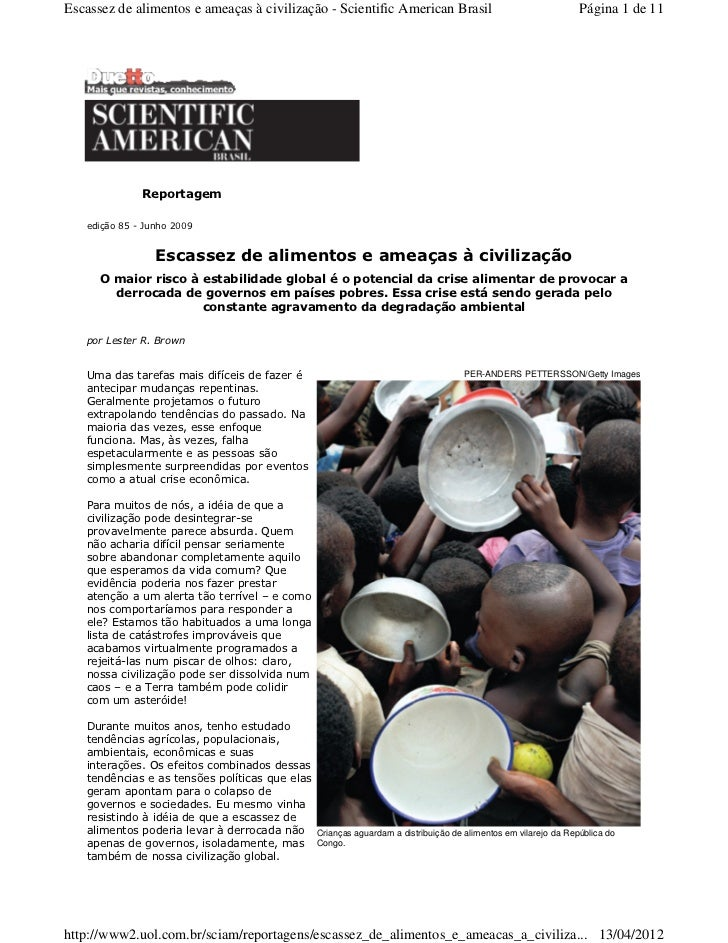 Escassez de alimentos e ameaças à civilização - Scientific American Brasil                                  Página 1 de 11...
