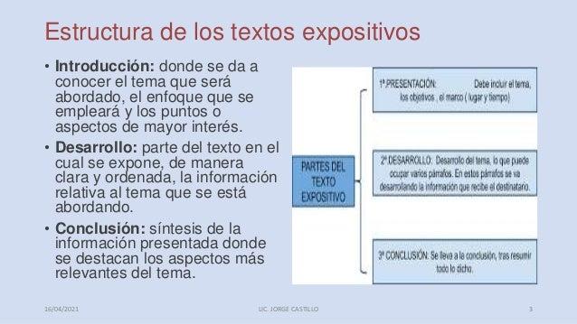 Estructura de los textos expositivos • Introducción: donde se da a conocer el tema que será abordado, el enfoque que se em...