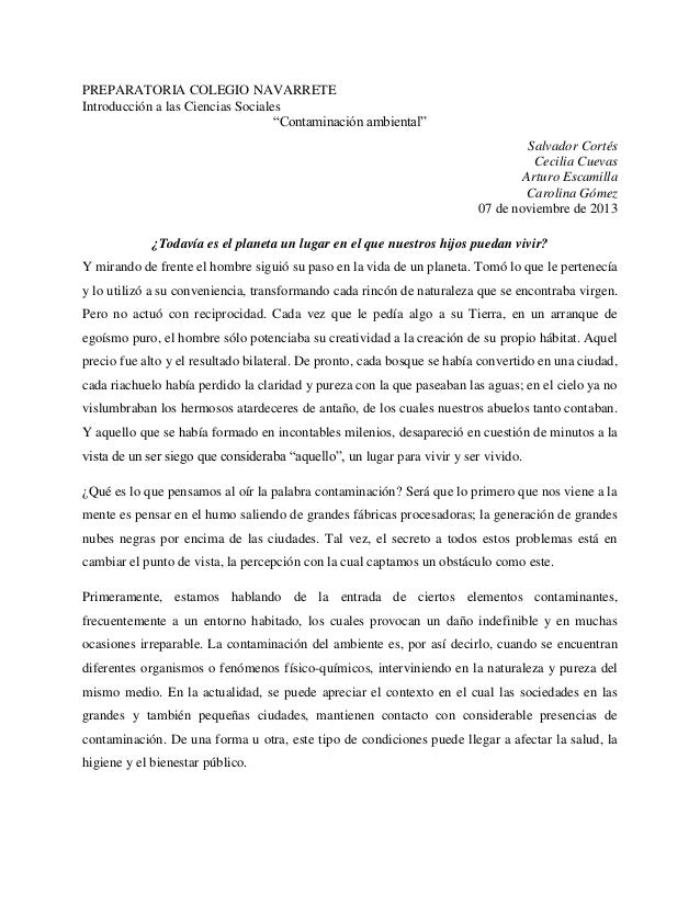 """PREPARATORIA COLEGIO NAVARRETE Introducción a las Ciencias Sociales """"Contaminación ambiental"""" Salvador Cortés Cecilia Cuev..."""