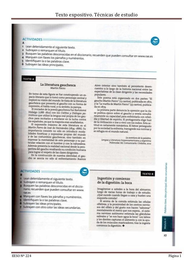 Texto expositivo. Técnicas de estudioEESO Nº 224 Página 1
