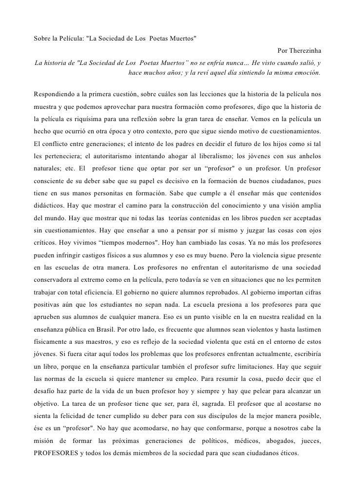"""Sobre la Película: """"La Sociedad de Los Poetas Muertos""""                                                                    ..."""