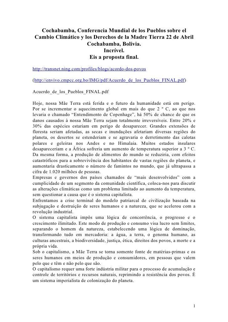 Cochabamba, Conferencia Mundial de los Pueblos sobre el  Cambio Climático y los Derechos de la Madre Tierra 22 de Abril   ...
