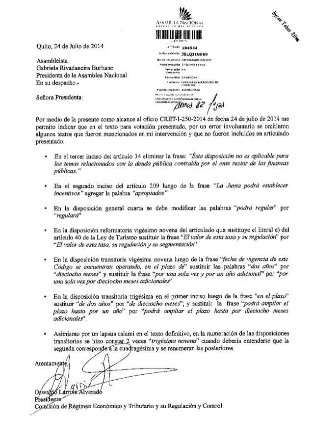 """Quiro. 24 de ruio de 2or4 Gabri€la Rivadmdn Bubano Presidelta de la Asanbla Na.ioml /t"""" En €1 segundo inciso del ardculo 2..."""