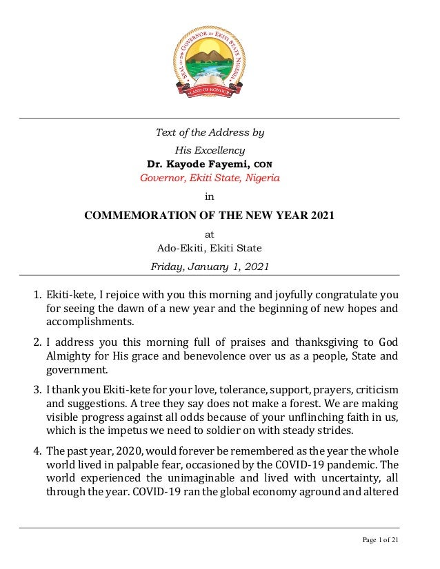 Page 1 of 21 Text of the Address by His Excellency Dr. Kayode Fayemi, CON Governor, Ekiti State, Nigeria in COMMEMORATION ...