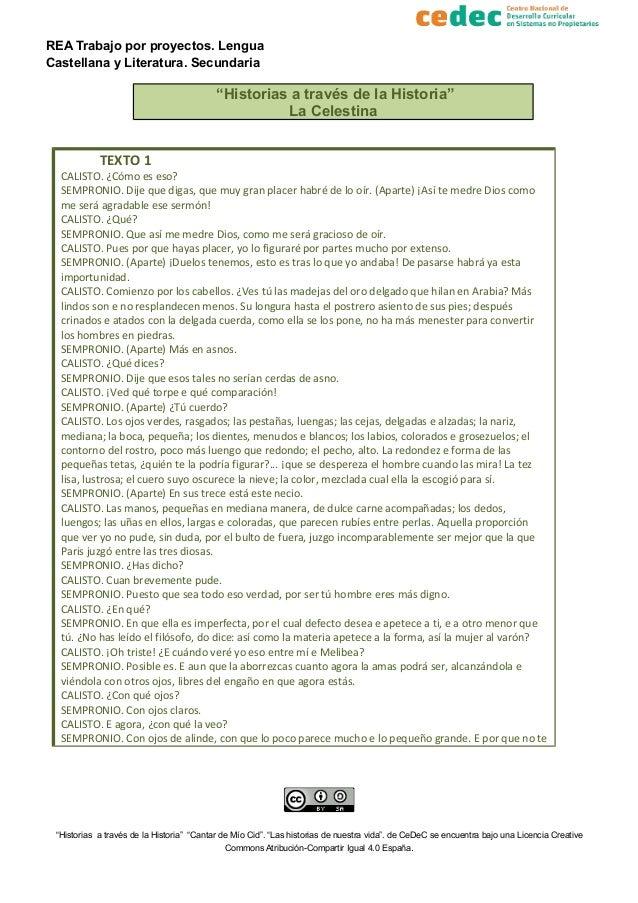 """REA Trabajo por proyectos. Lengua Castellana y Literatura. Secundaria """"Historias a través de la Historia"""" La Celestina TEX..."""