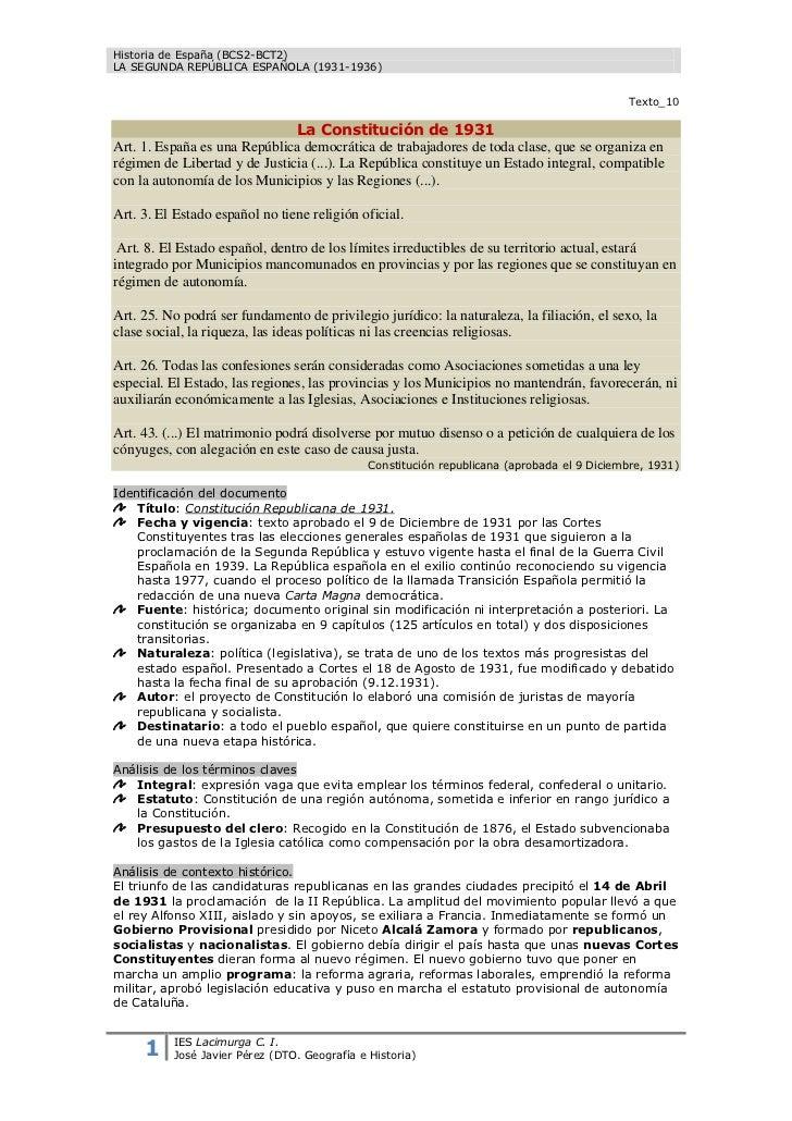 La Constitucion 1931 Comentario