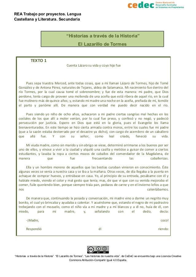 """REA Trabajo por proyectos. Lengua Castellana y Literatura. Secundaria """"Historias a través de la Historia"""" El Lazarillo de ..."""