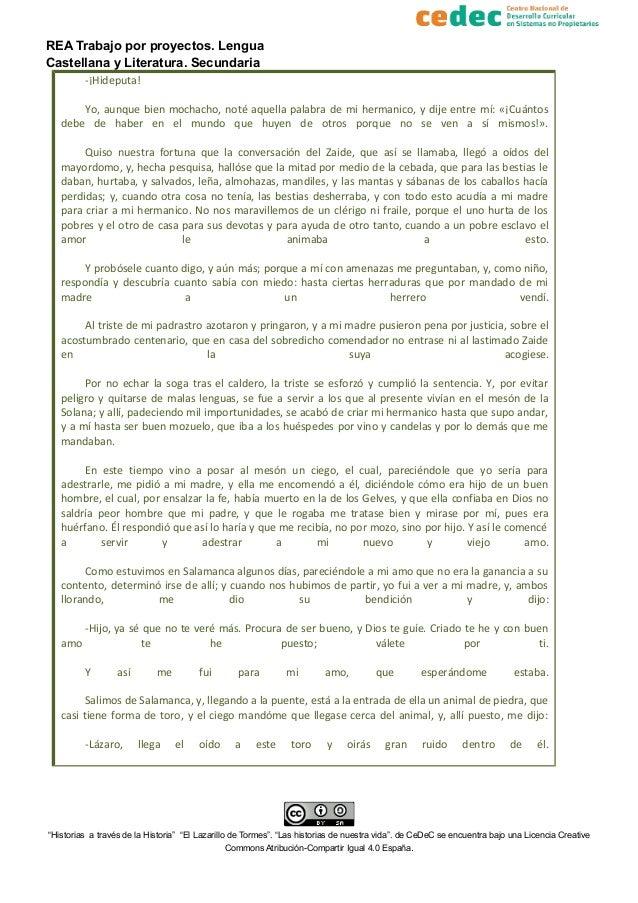 REA Trabajo por proyectos. Lengua Castellana y Literatura. Secundaria -¡Hideputa! Yo, aunque bien mochacho, noté aquella p...