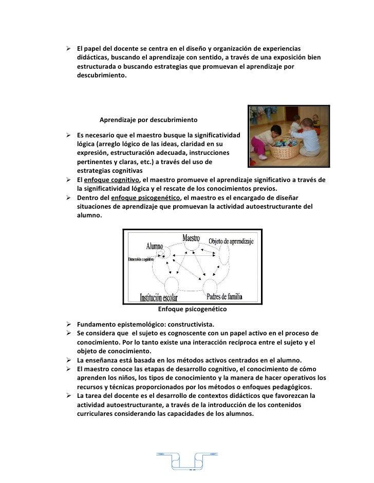  El papel del docente se centra en el diseño y organización de experiencias    didácticas, buscando el aprendizaje con se...