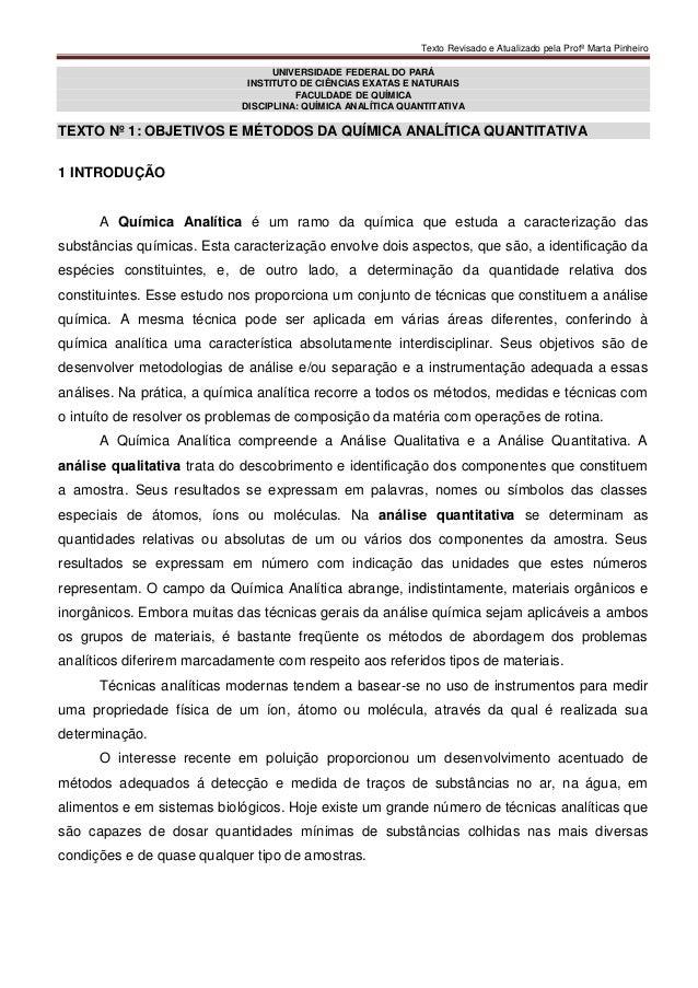 Texto Revisado e Atualizado pela Profª Marta PinheiroUNIVERSIDADE FEDERAL DO PARÁINSTITUTO DE CIÊNCIAS EXATAS E NATURAISFA...