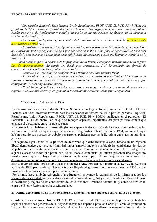 """1  PROGRAMA DEL FRENTE POPULAR. """"Los partidos Izquierda Republicana, Unión Republicana, PSOE, UGT, JS, PCE, PS y POUM, sin..."""