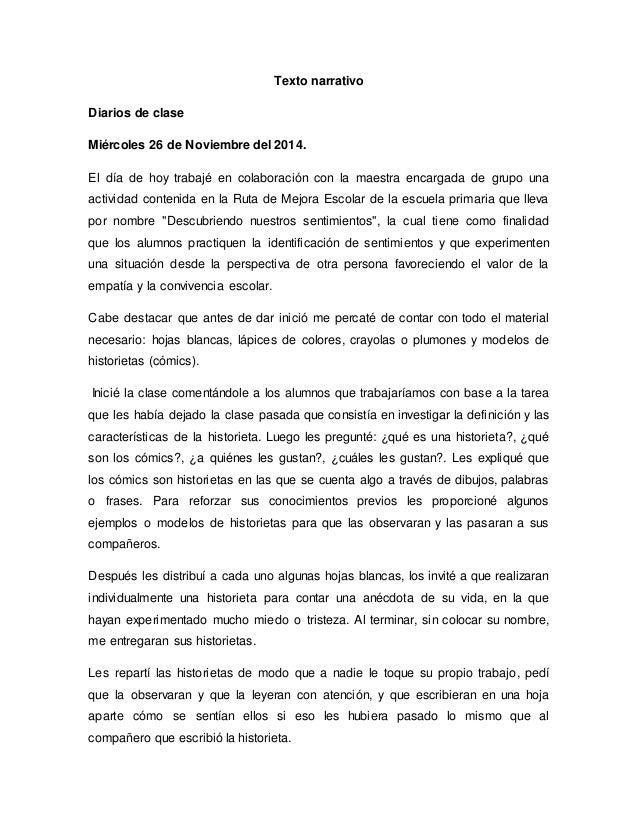Texto Narrativo Diarios De Clase