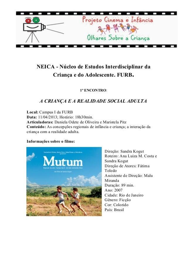 NEICA - Núcleo de Estudos Interdisciplinar da          Criança e do Adolescente. FURB.                              1º ENC...