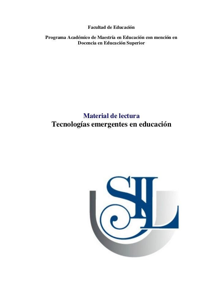 Facultad de Educación  Programa Académico de Maestría en Educación con mención en              Docencia en Educación Super...