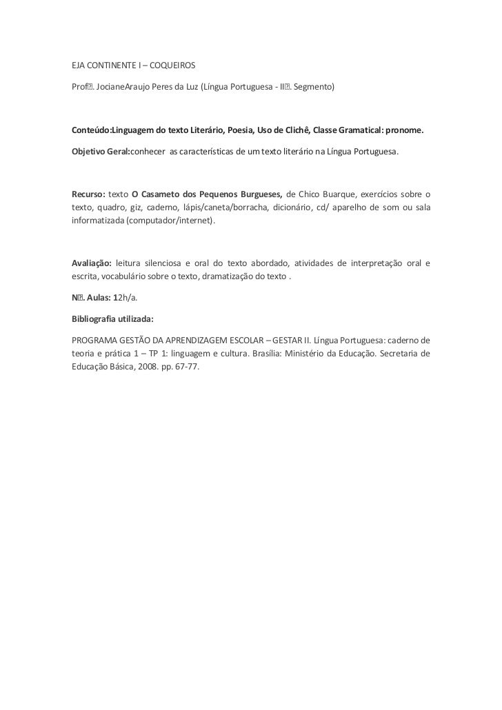 EJA CONTINENTE I – COQUEIROS<br />Profᵃ. Jociane Araujo Peres da Luz (Língua Portuguesa - IIᵒ. Segmento)<br />Conteúdo: Li...