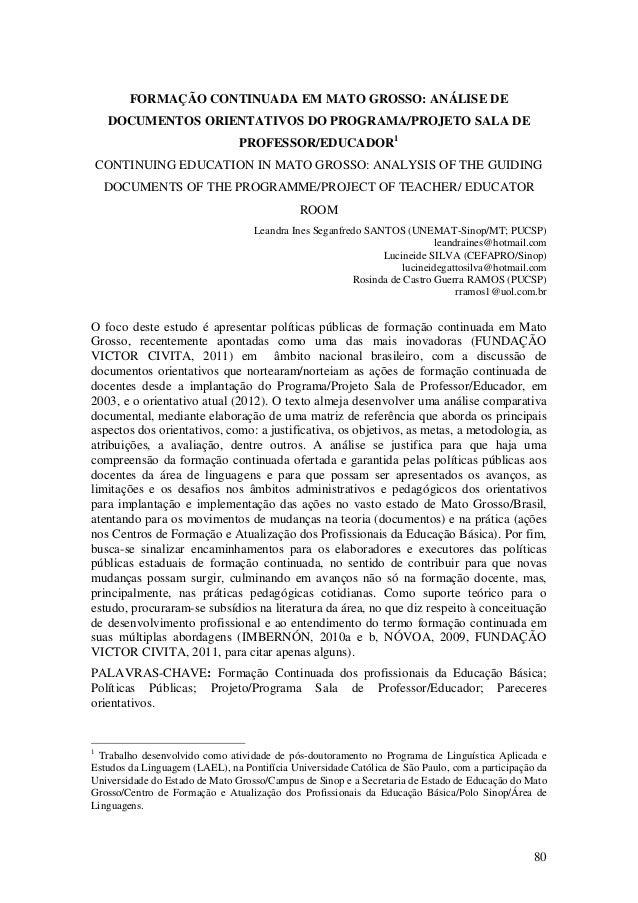 80 FORMAÇÃO CONTINUADA EM MATO GROSSO: ANÁLISE DE DOCUMENTOS ORIENTATIVOS DO PROGRAMA/PROJETO SALA DE PROFESSOR/EDUCADOR1 ...