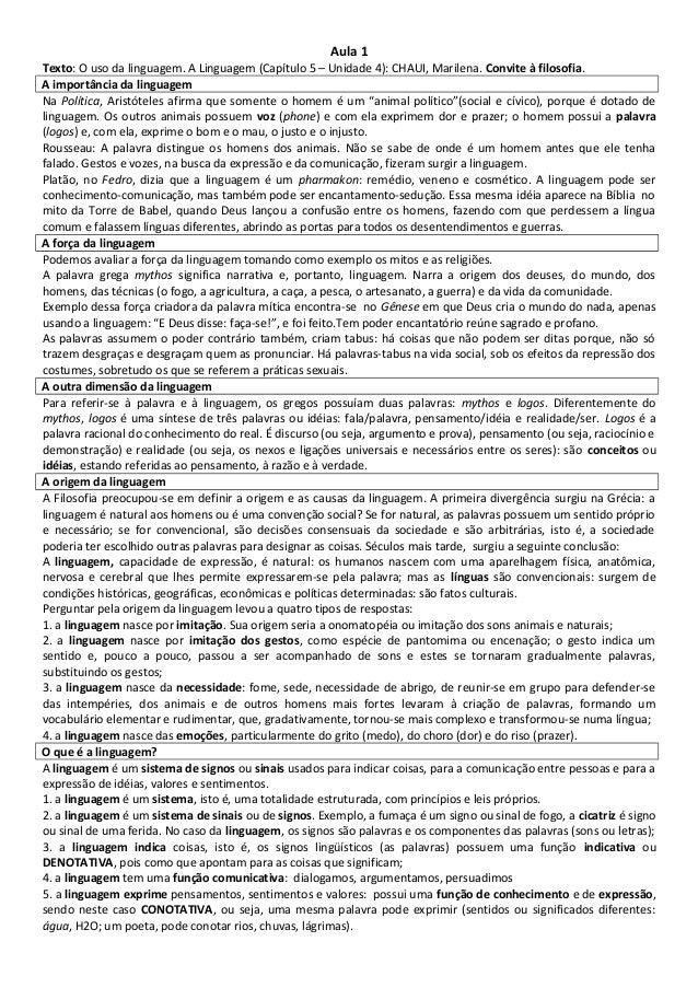 Texto O Uso Da Linguagem A Linguagem Capítulo 5 Unidade 4 Chaui