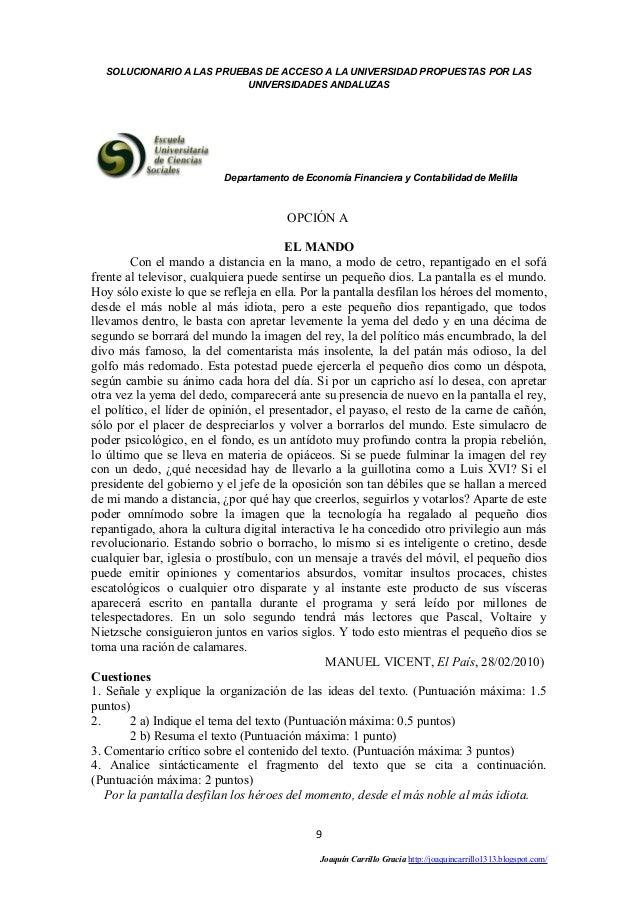 SOLUCIONARIO A LAS PRUEBAS DE ACCESO A LA UNIVERSIDAD PROPUESTAS POR LAS  UNIVERSIDADES ANDALUZAS  Departamento de Economí...
