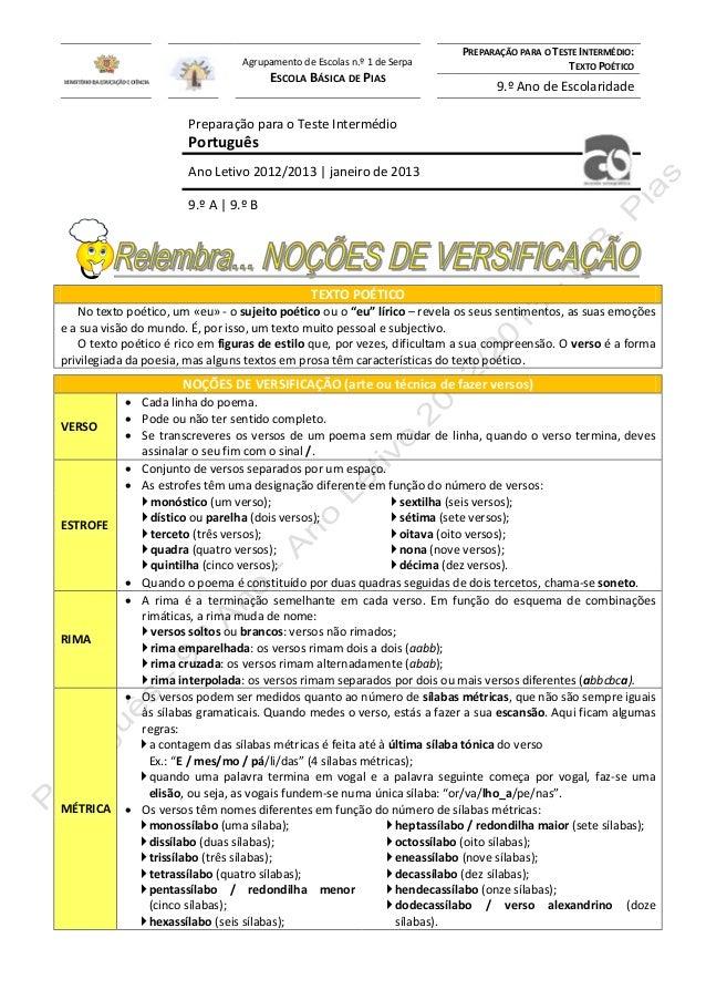 Agrupamento de Escolas n.º 1 de Serpa  ESCOLA BÁSICA DE PIAS  PREPARAÇÃO PARA O TESTE INTERMÉDIO: TEXTO POÉTICO  9.º Ano d...