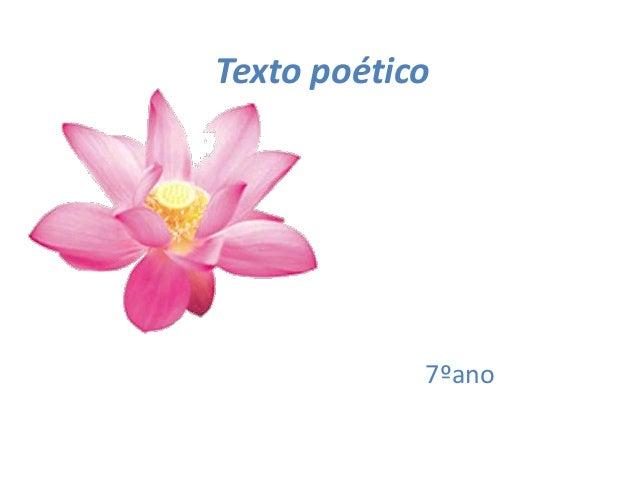 Texto poético            7ºano