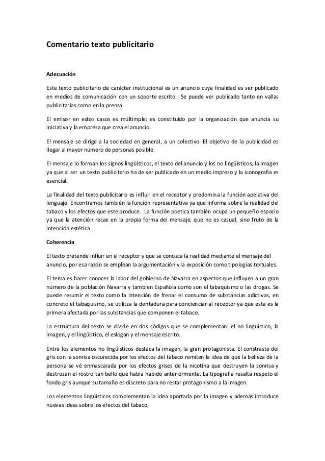 Comentario texto publicitario Adecuación Este texto publicitario de carácter institucional es un anuncio cuya finalidad es...