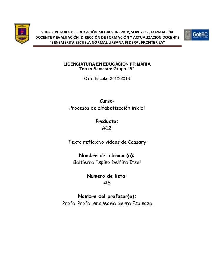 SUBSECRETARIA DE EDUCACIÓN MEDIA SUPERIOR, SUPERIOR, FORMACIÓNDOCENTE Y EVALUACIÓN DIRECCIÓN DE FORMACIÓN Y ACTUALIZACIÓN ...