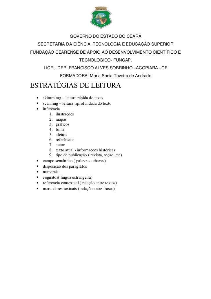 GOVERNODOESTADODOCEARÁ  SECRETARIADACIÊNCIA,TECNOLOGIAEEDUCAÇÃOSUPERIORFUNDAÇÃOCEARENSEDEAPOIOAODESENVOLVIM...