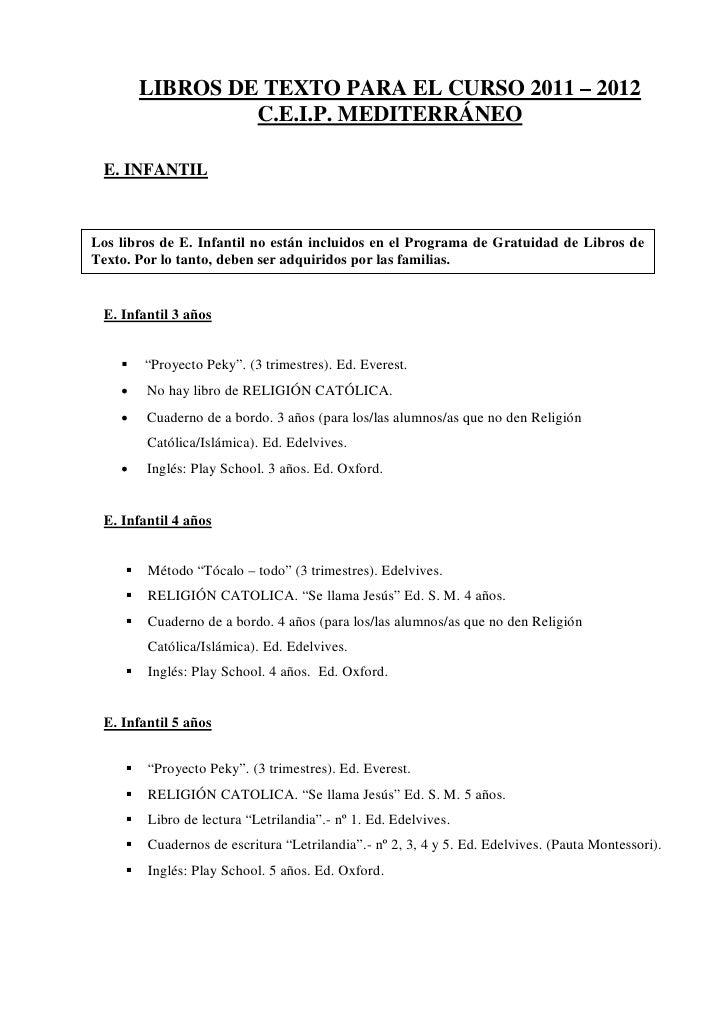 LIBROS DE TEXTO PARA EL CURSO 2011 – 2012                  C.E.I.P. MEDITERRÁNEO E. INFANTILLos libros de E. Infantil no e...