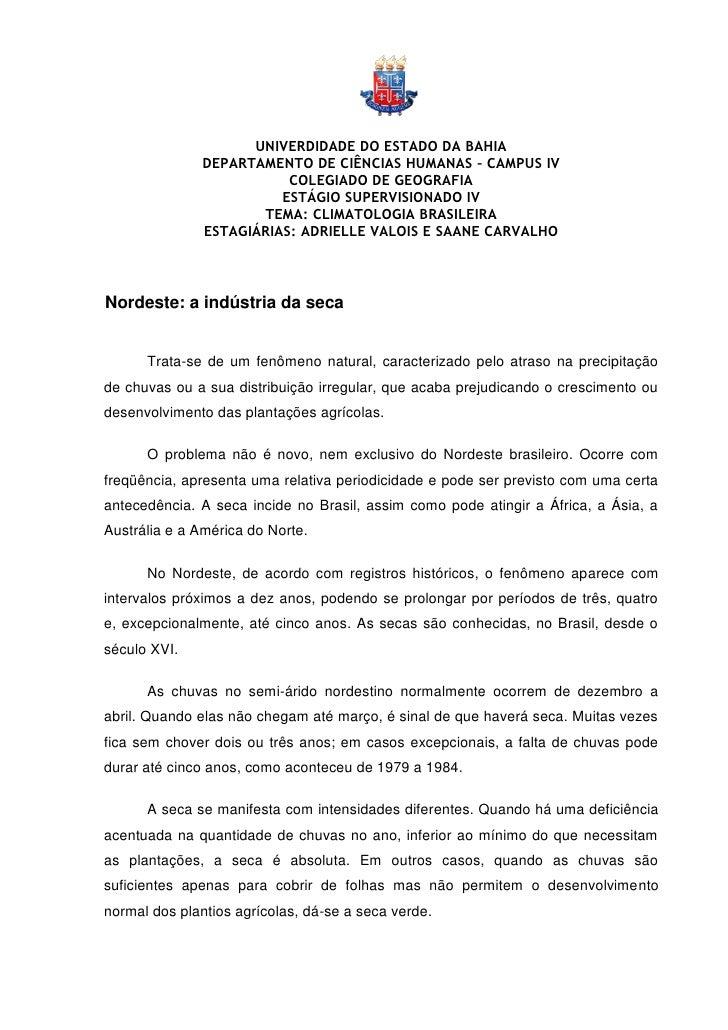 UNIVERDIDADE DO ESTADO DA BAHIA               DEPARTAMENTO DE CIÊNCIAS HUMANAS – CAMPUS IV                          COLEGI...
