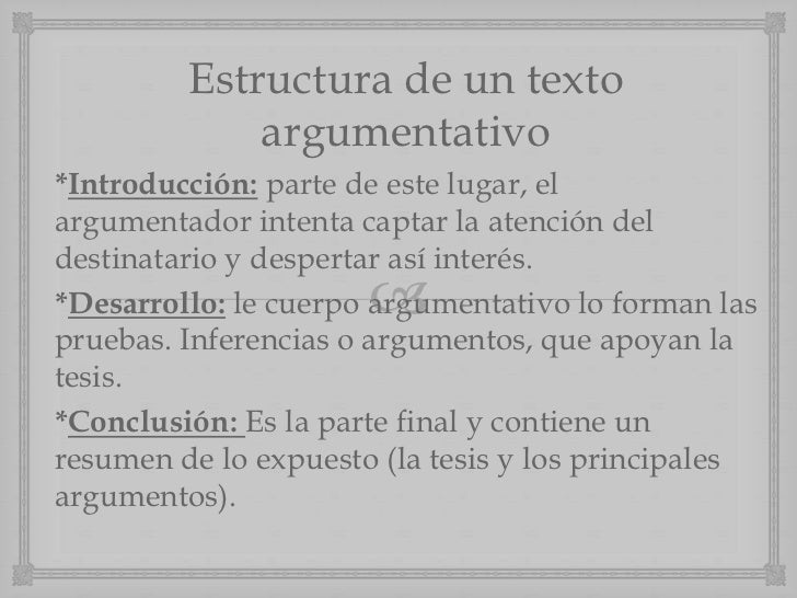 Estructura de un texto             argumentativo*Introducción: parte de este lugar, elargumentador intenta captar la atenc...