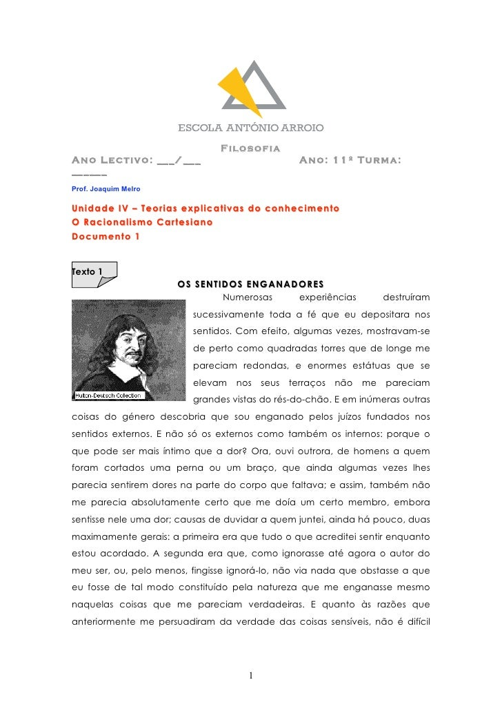 Filosofia Ano Lectivo: ___/___                              Ano: 11º Turma: ______ Prof. Joaquim Melro  Unidade IV – Teori...