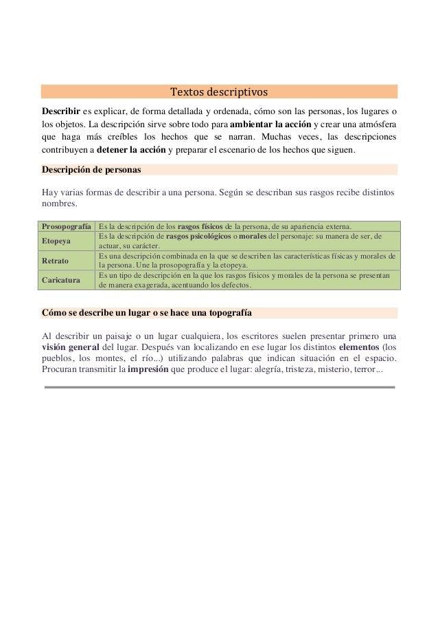 Textos descriptivos Des...