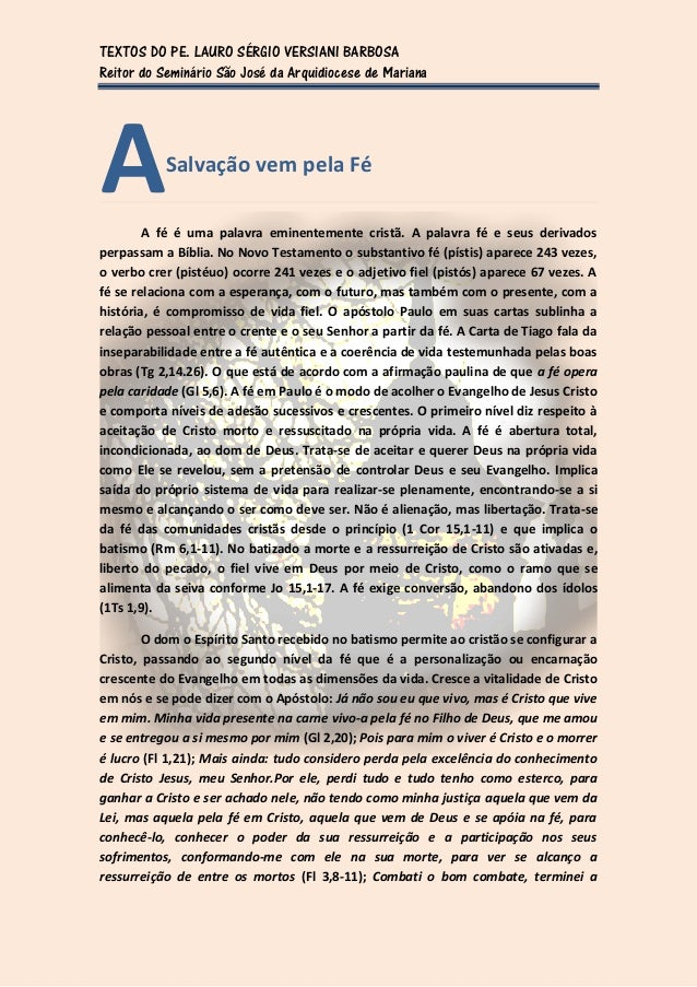 TEXTOS DO PE. LAURO SÉRGIO VERSIANI BARBOSAReitor do Seminário São José da Arquidiocese de MarianaA          Salvação vem ...